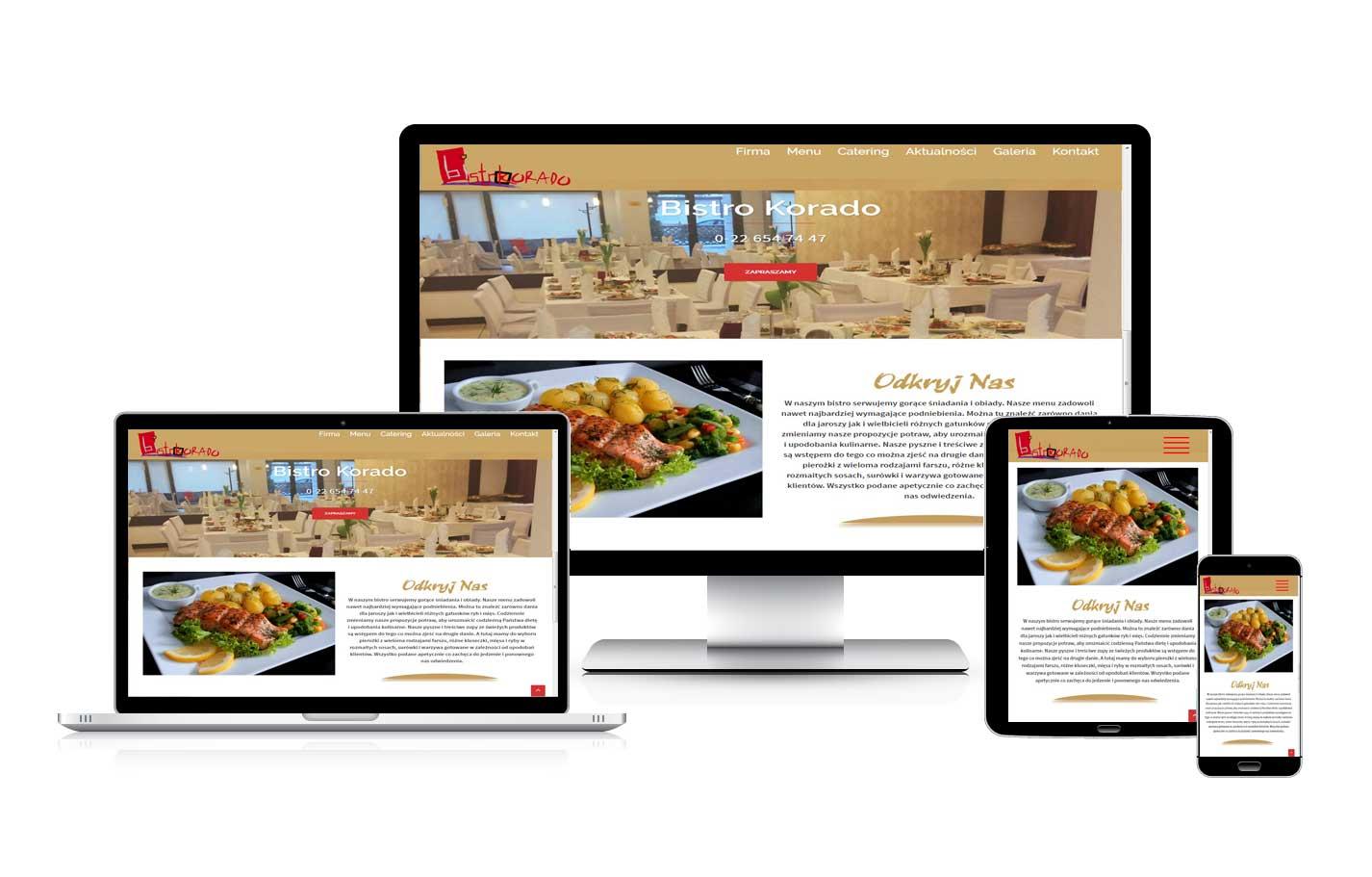 Strona www dla restauracji Korado
