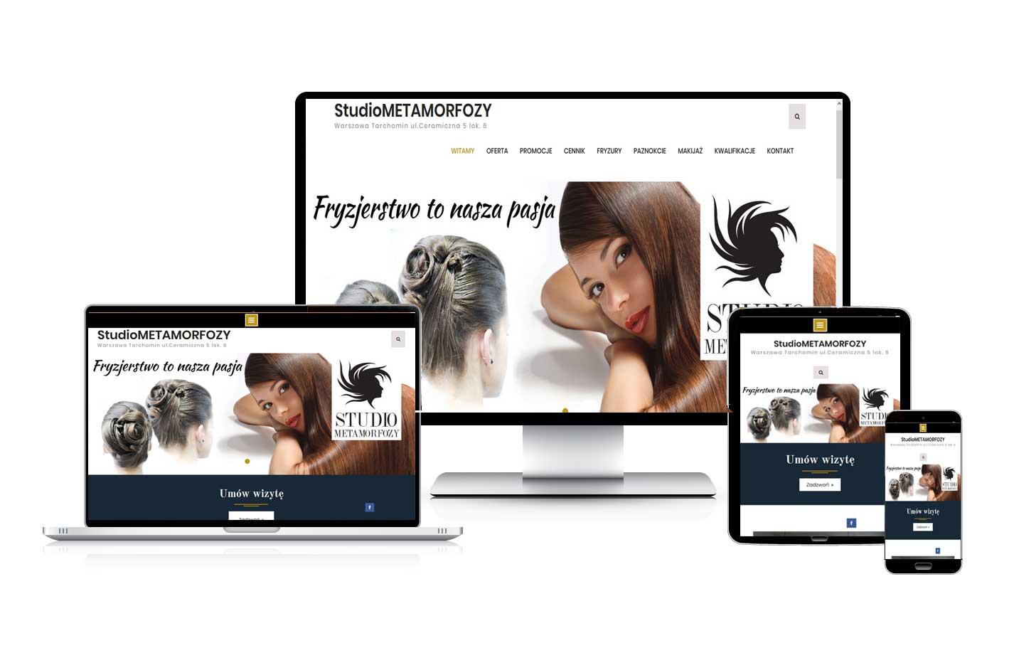 Strona internetowa dla studia fryzjerskiego