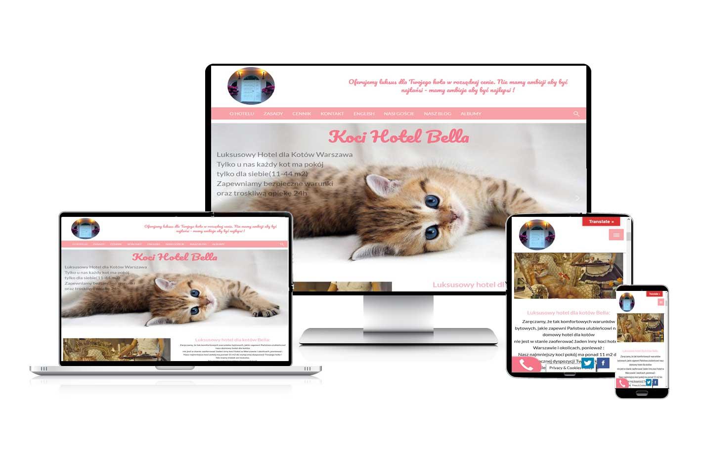 Tworzenie stron internetowych dla firm. Strona Hotelu dla kotów Bella