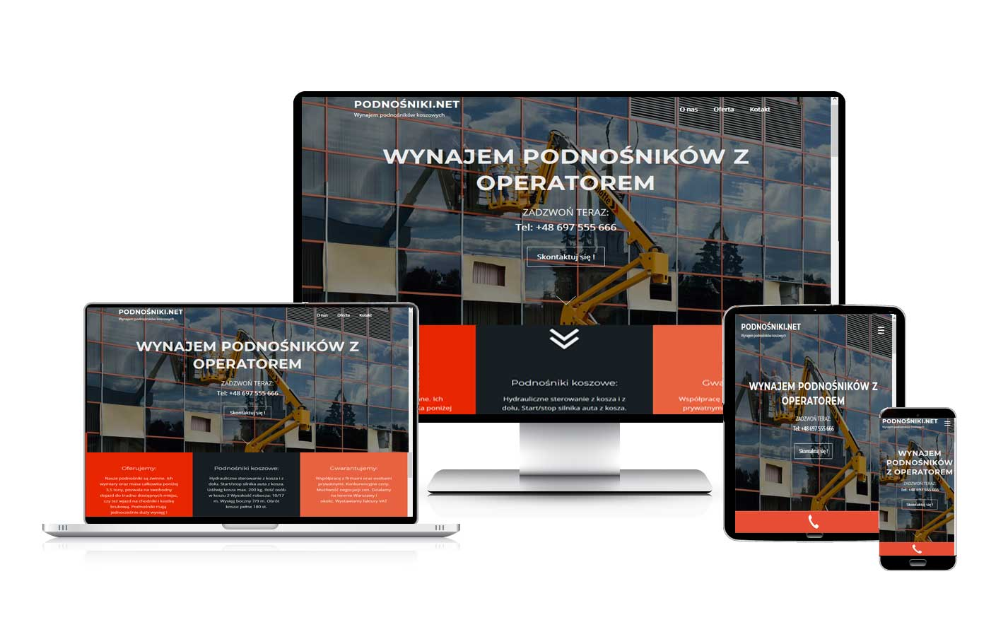 Tworzenie sklepów internetowych. Podnośniki.net. Strona wizytówka firmowa