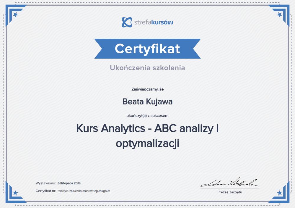 Certyfikat ukończenia szkoleniaAnaliza i optymalizacja