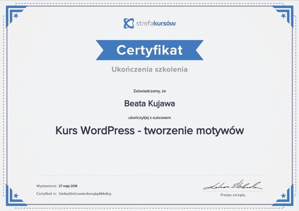 Dyplom i certyfikat ukończenia Kurs wordpress tworzenie motywów