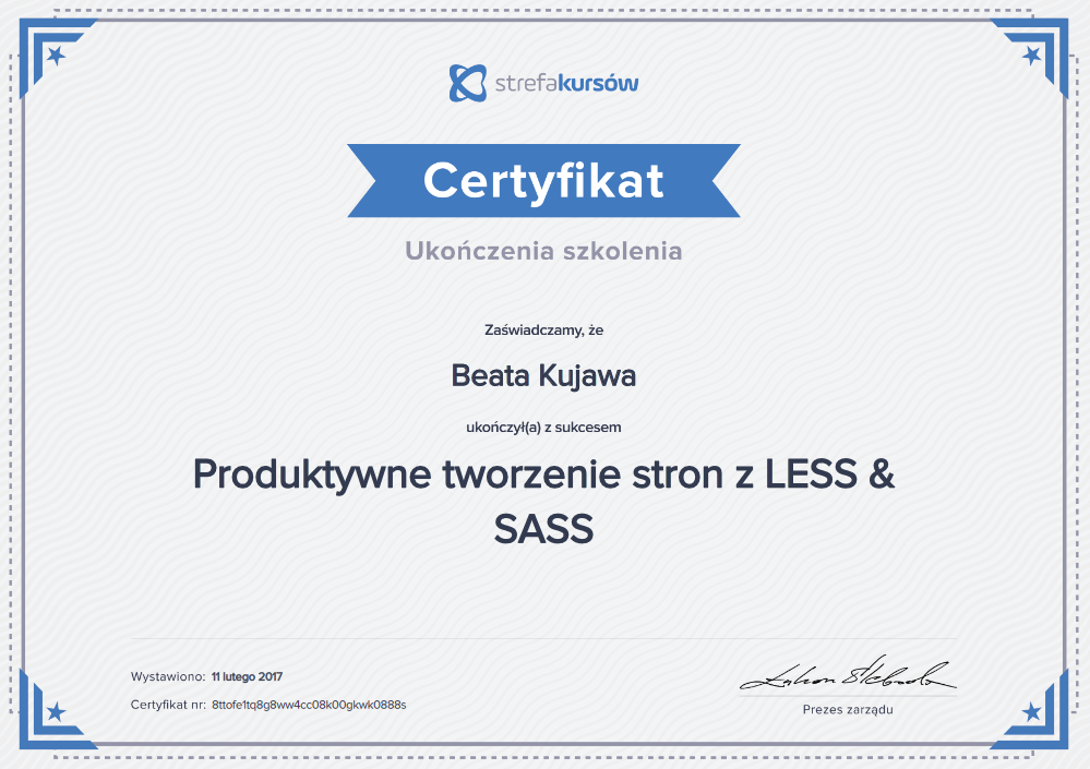Dyplom ukończenia szkoleniaProduktywne tworzenie stron z less i sass