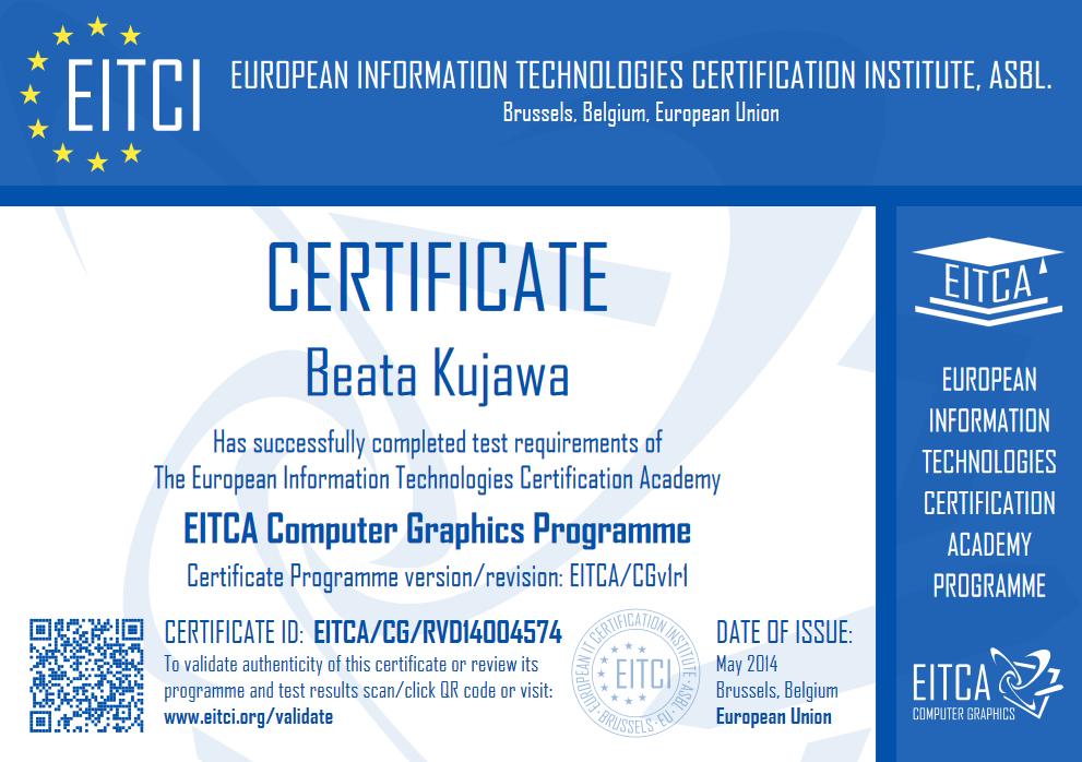 Dyplom i certyfikat ukończenia akademi Grafiki Komputerowej
