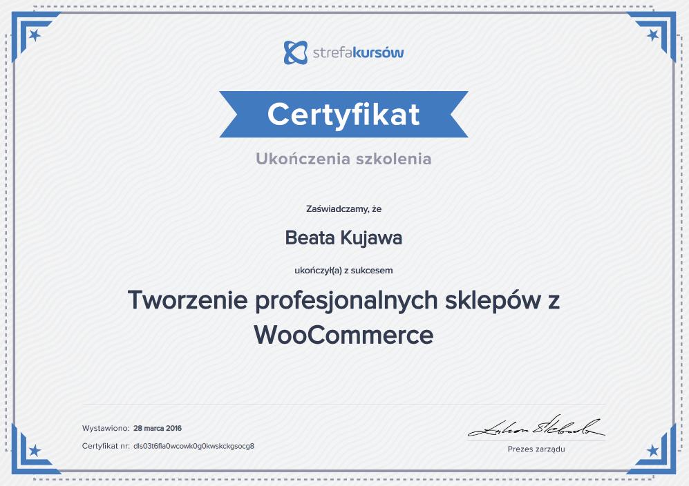 Dyplom ukończenia szkolenia Tworzenie profesjonalnych sklepów woo comerce