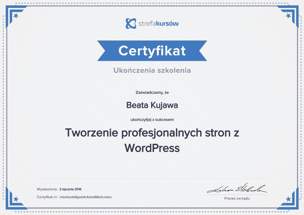 Certyfikat Tworzenie profesjonalnych stron z word press