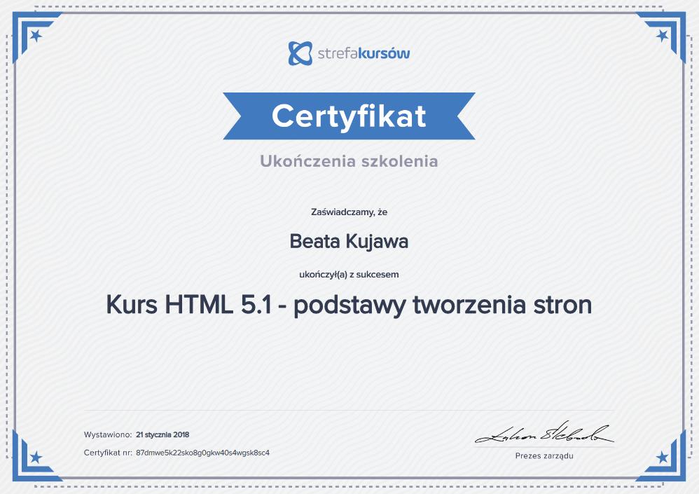kurs HTML 5.1 tworzenia stron internetowych