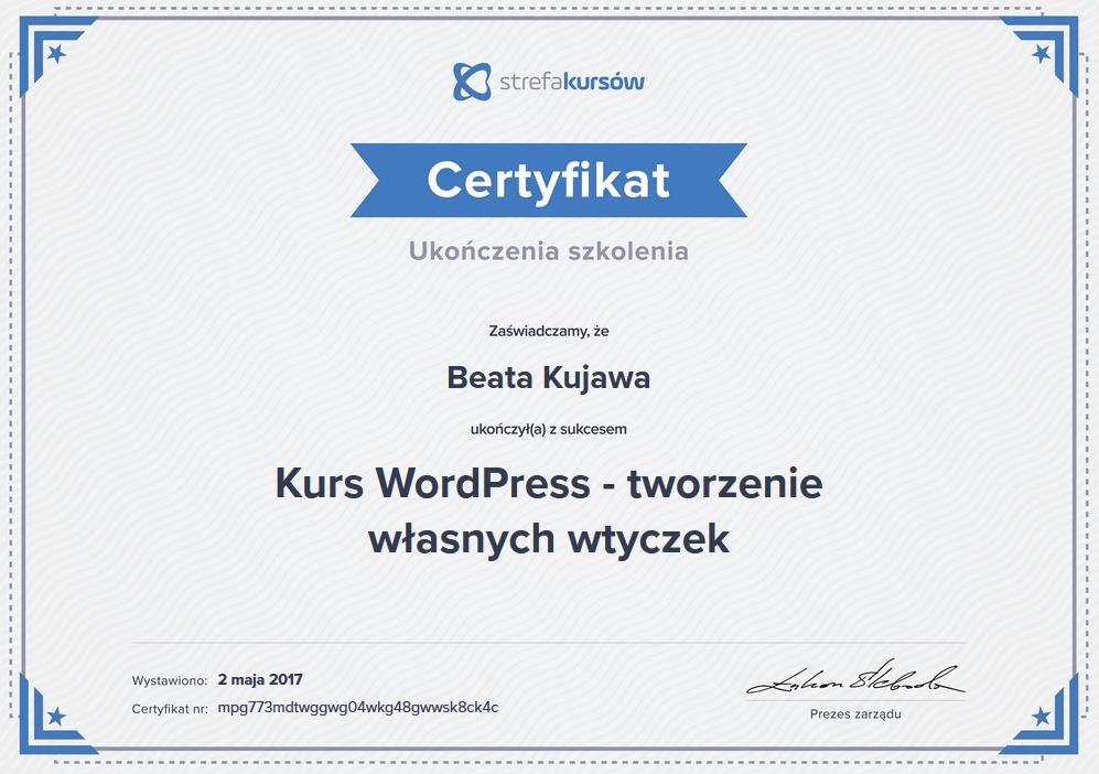 Dyplom i certyfikat ukończenia kurs word press tworzenie własnych wtyczek