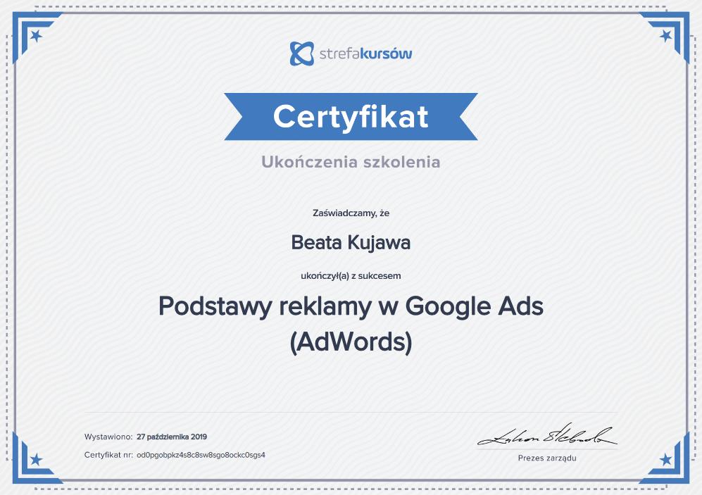 Certyfikat ukończenia kursu podstawy reklamy google ADS sk