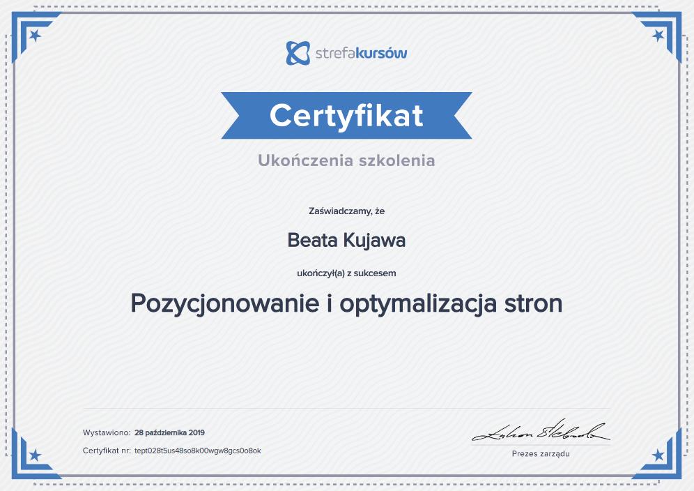 Dyplom ukończenia kursu pozycjonowanie i optymalizacja stron SK